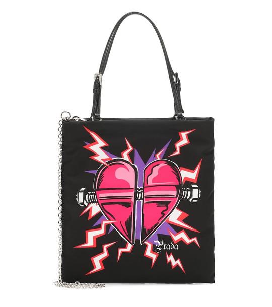 Prada Heart-print nylon tote in black
