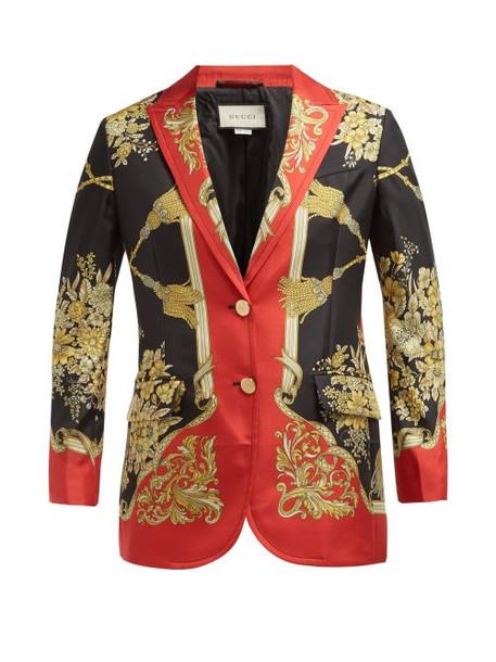 blazer floral print silk red jacket