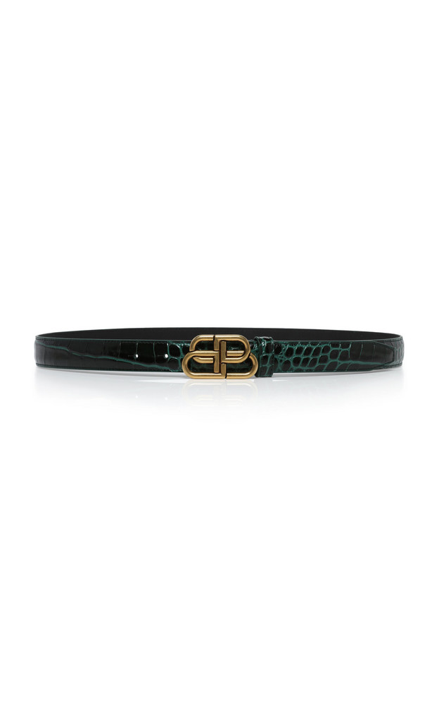 Balenciaga BB Croc-Effect Leather Belt in green