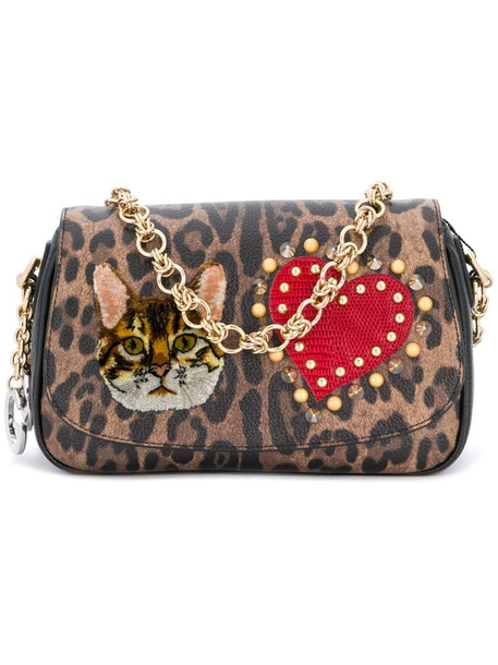 Dolce & Gabbana patched leopard print clutch in brown