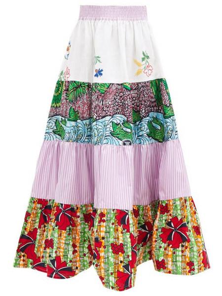 Rianna + Nina Rianna + Nina - Kendima Printed Cotton-volant Midi Skirt - Womens - Blue Multi