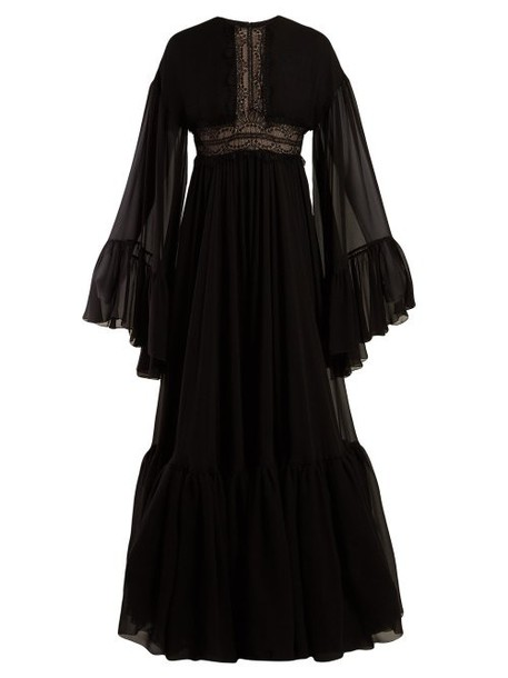 Giambattista Valli - Lace Trimmed Silk Crepe De Chine Gown - Womens - Black
