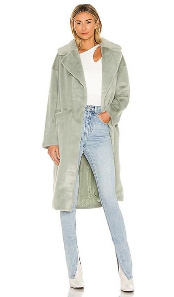 ELLIATT Zelda Faux Fur Coat in Green in blue