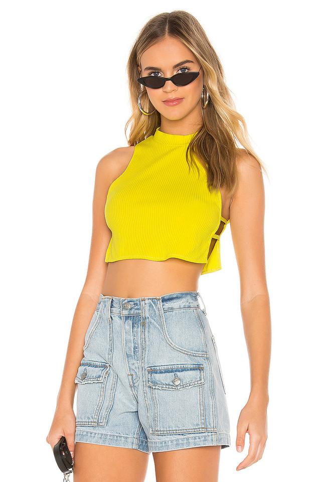 superdown Christina Flowy Crop Top in yellow
