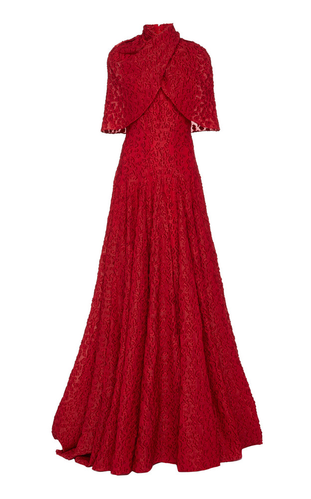Brandon Maxwell Cape-Effect Fil Coupé Gown in red