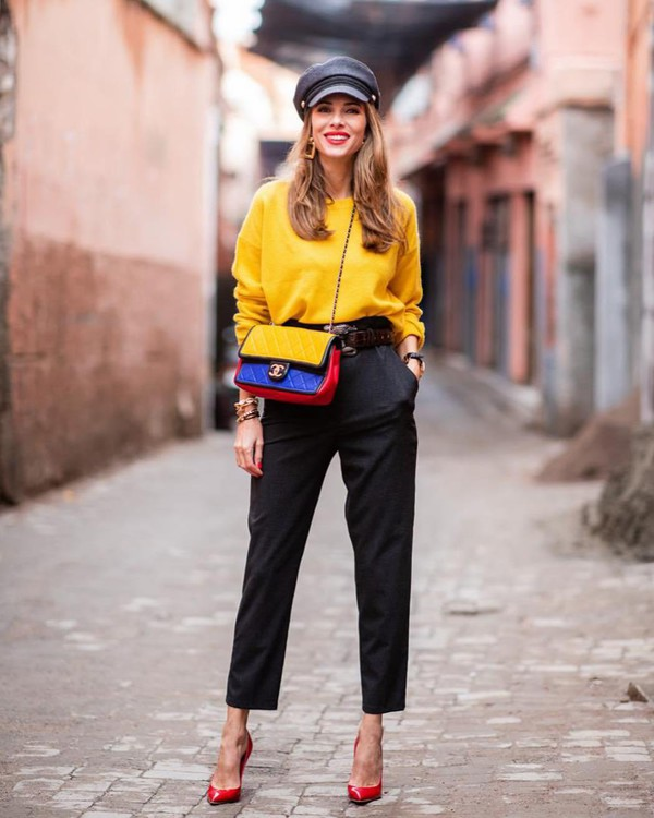 sweater knitted sweater cashmere jumper yellow sweater high waisted pants pumps chanel bag beret
