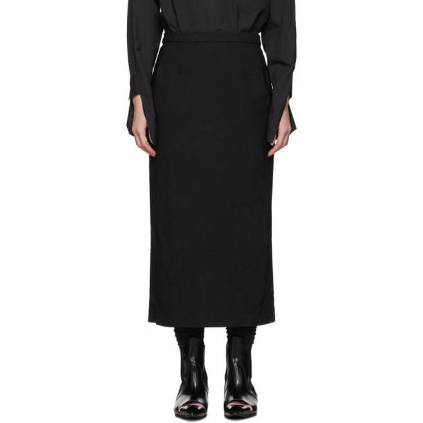 Comme des Garçons Black Crinkled Serge Pencil Skirt