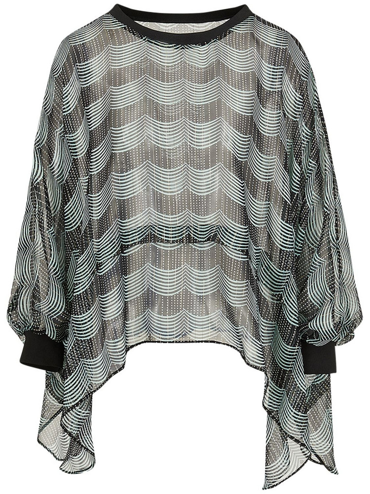 GIORGIO ARMANI Printed Silk Lamé Wide Poncho Shirt