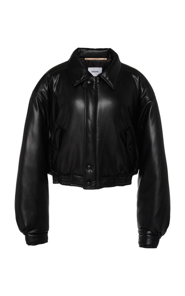 Nanushka Bomi Cropped Faux Leather Bomber Jacket Size: XS in black