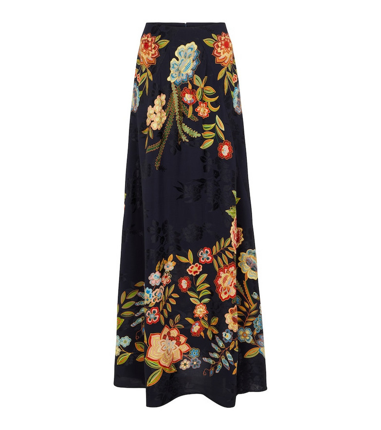 ETRO High-rise floral jacquard maxi skirt in blue