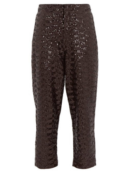 Àcheval Pampa Àcheval Pampa - Al Viento High Rise Sequinned Tapered Trousers - Womens - Black