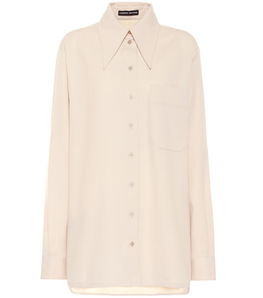 Kwaidan Editions Wool-blend crêpe shirt in beige