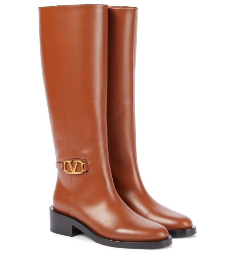 Valentino Garavani VLOGO leather knee-high boots in brown