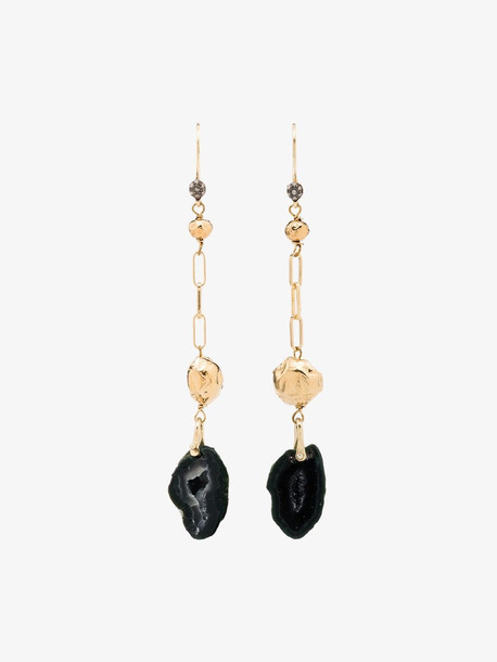 5 Octobre Gold Geode and diamond drop earrings