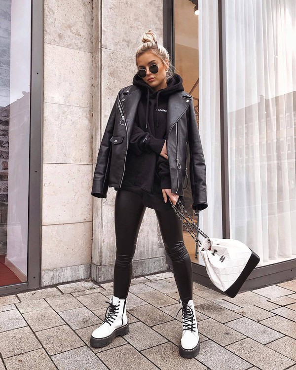 bag white bag chanel white boots combat boots lace up boots black leggings black leather jacket black hoodie
