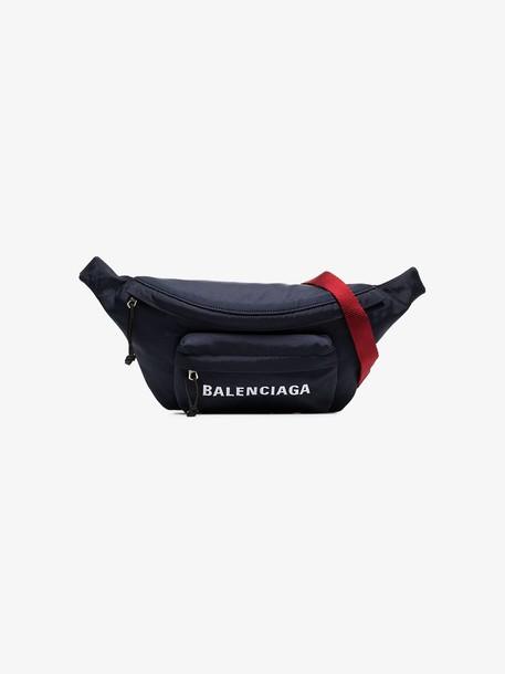 Balenciaga blue and white Wheel logo belt bag