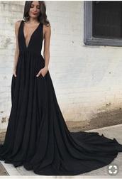 dress,prom dress,prom,black dress,backless dress,black,v neck,plunge v neck,backless