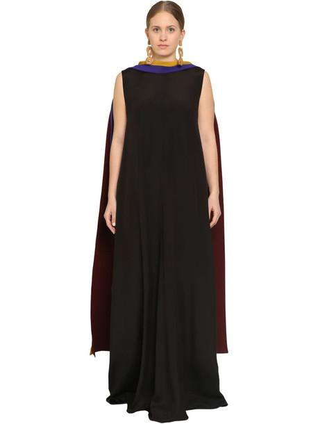 MARINA RINALDI Long Satin Dress W/scarf in black