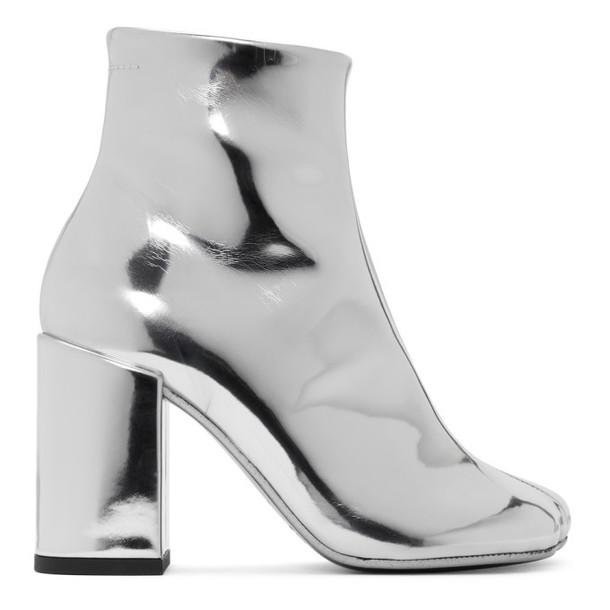 MM6 Maison Margiela Silver Square Heel Boots
