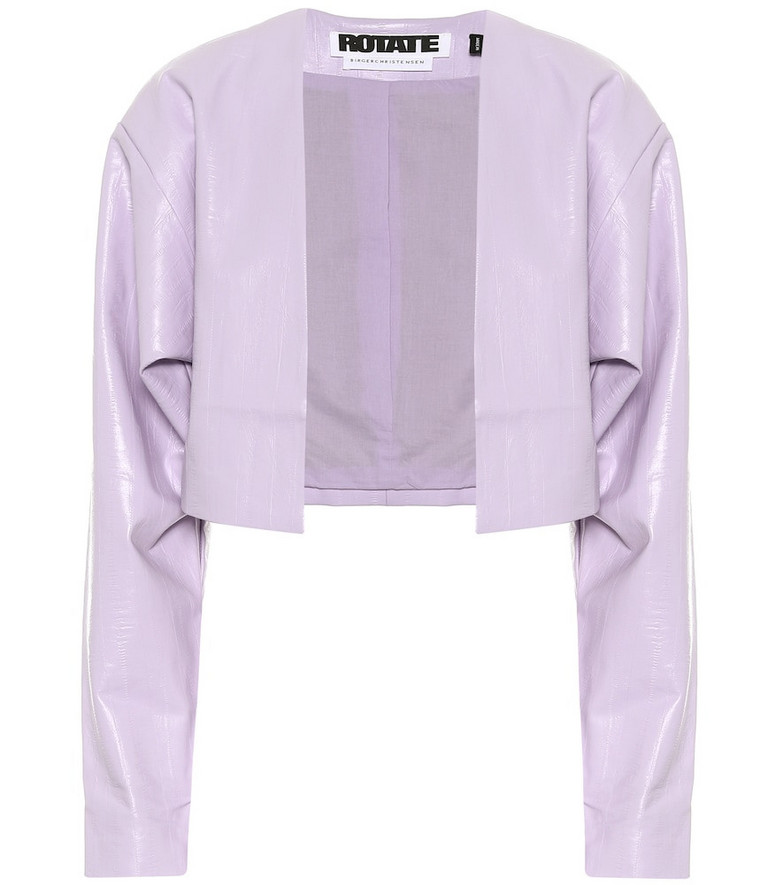 ROTATE BIRGER CHRISTENSEN Magrit faux leather cropped jacket in purple