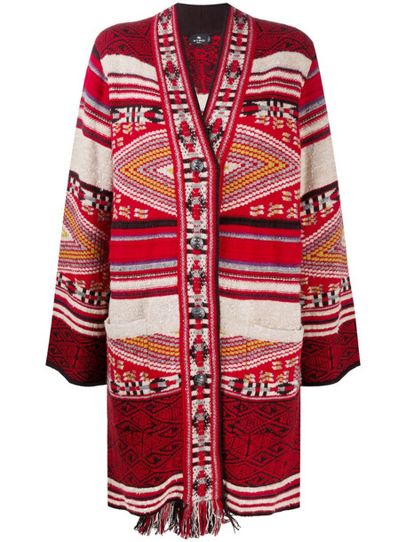 Etro patterned-knit cardigan in red