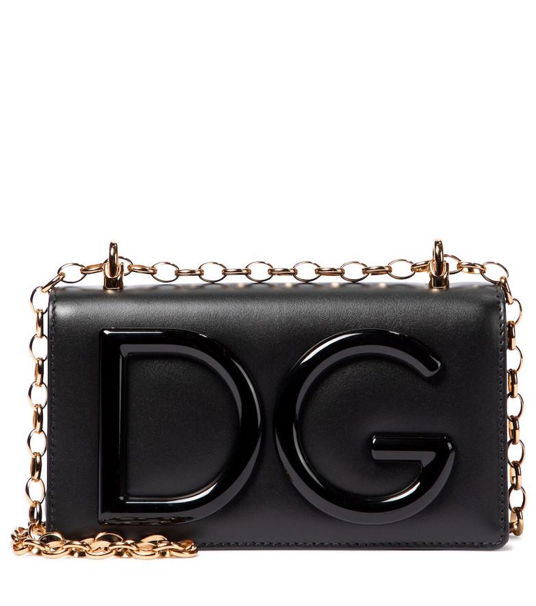 Dolce & Gabbana DG Logo Small leather crossbody bag in black