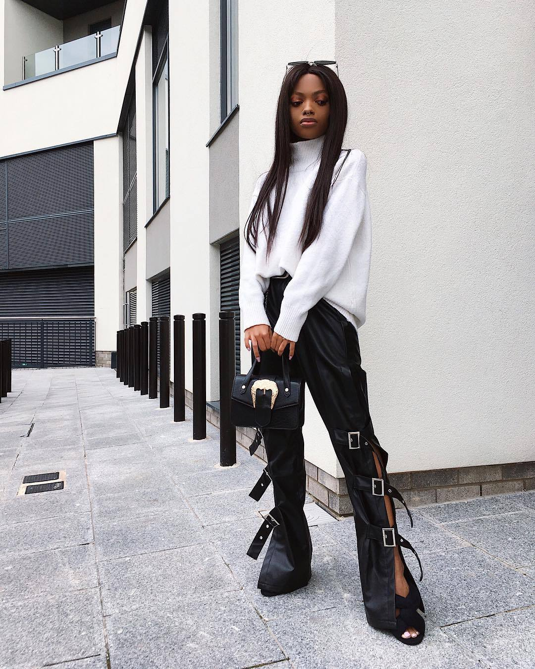 pants black leather pants high waisted pants pretty little thing black sandals white sweater turtleneck sweater black bag handbag