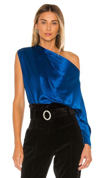 Michelle Mason One Sleeve Drape Top in Royal