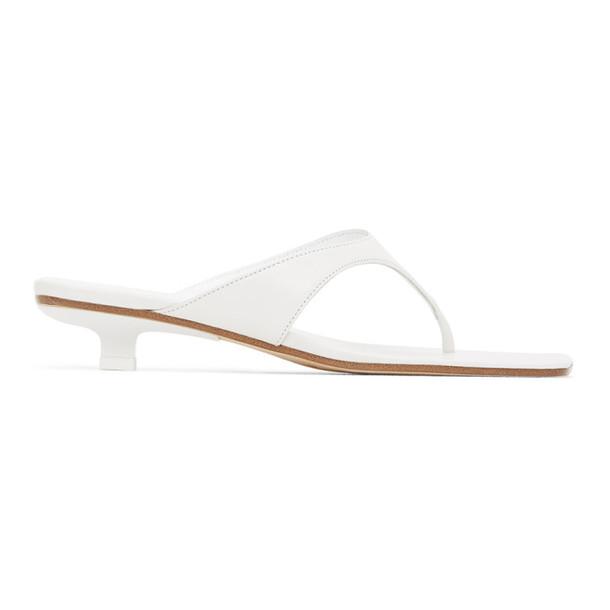 BY FAR White Leather Jack Heeled Sandals