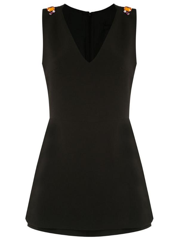 Eva v-neck sleeveless playsuit in black