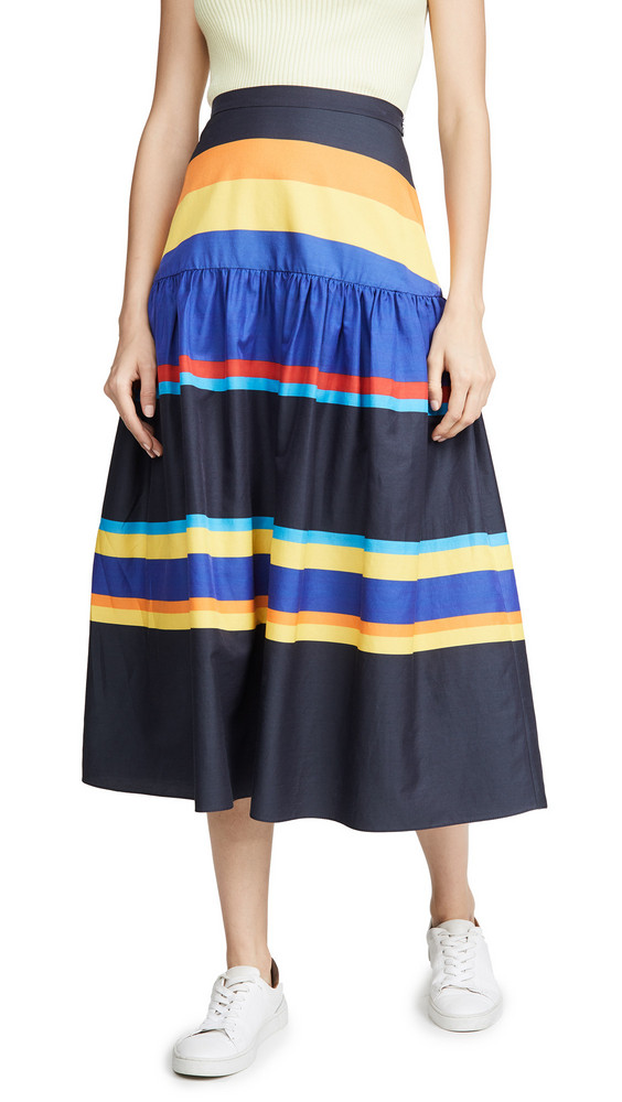 Chinti and Parker Striped Skirt in navy / multi