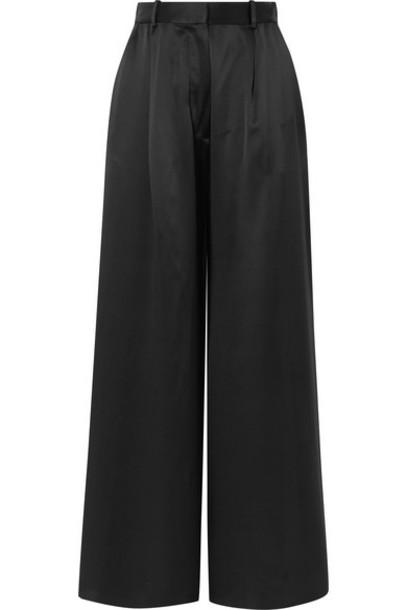 Michael Lo Sordo - Belle Silk-satin Wide-leg Pants - Black
