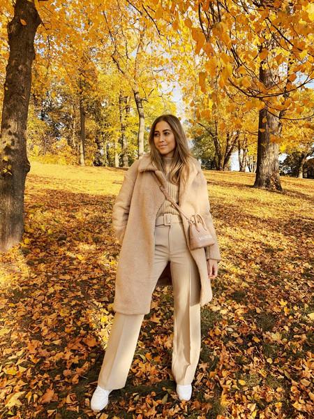 kenza blogger pants sweater coat bag shoes