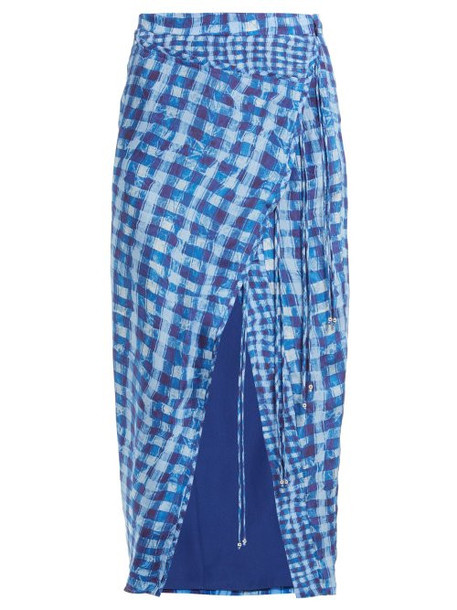 Altuzarra - Cicero Gingham Silk Crepe De Chine Pencil Skirt - Womens - Blue Multi