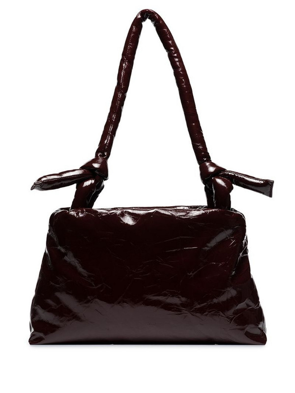 KASSL Editions lacquered knot tote in red