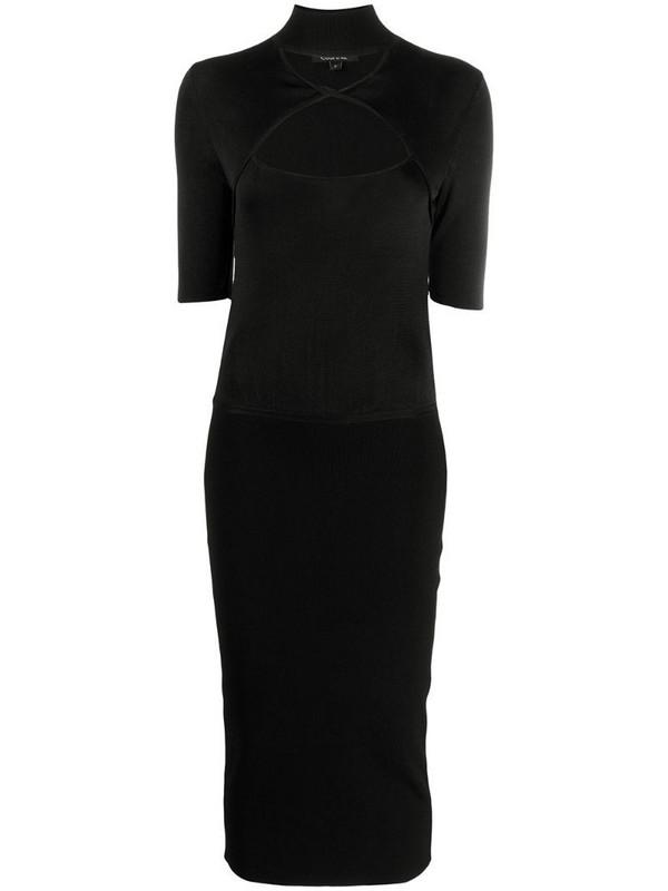 Cushnie cut-out neck pencil dress in black