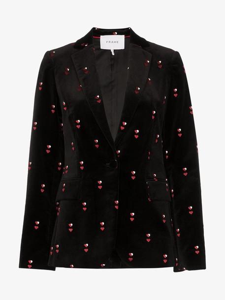 FRAME heart-embroidered velvet blazer in black