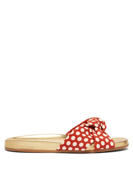 Charlotte Olympia - Polka Dot Print Knotted Canvas Slides - Womens - Red Multi