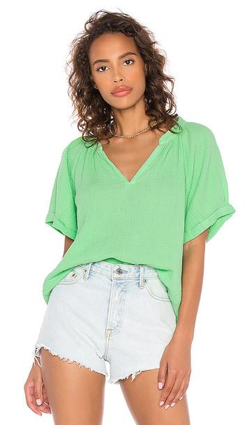 Nation LTD Odette Rolled Peasant Shirt in Green