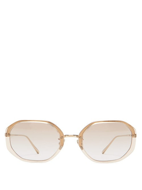 Linda Farrow - Tyler Hexagonal Acetate And Titanium Sunglasses - Womens - Clear