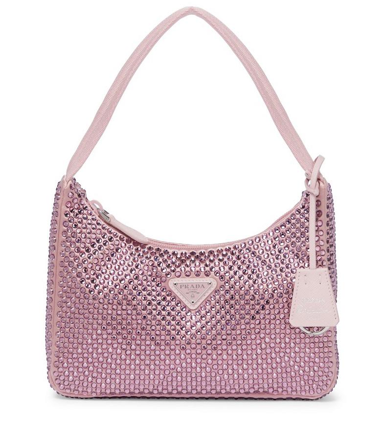 Prada Re-Edition 2000 embellished shoulder bag in pink