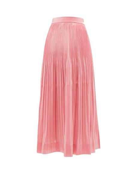 Rhode - Farrah Pleated Lamé Midi Skirt - Womens - Pink