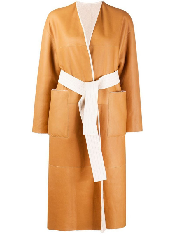 Blancha belted mid-length coat in neutrals