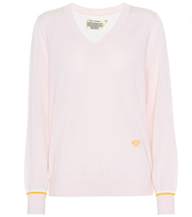 Tory Sport Wool-blend sweater in pink