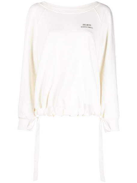 Alberta Ferretti drawstring-hem jumper in white
