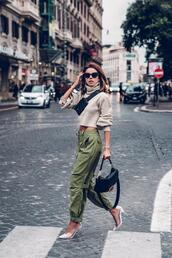 vivaluxury - fashion blog by annabelle fleur: nyfw mini moment,blogger,jewels,pants,sweater,shoes,sunglasses,bag,cargo pants,army green,pumps,black bag,fendi,turtleneck sweater,cropped turtleneck