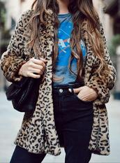 stella wants to die,blogger,t-shirt,coat,bag,jeans,sunglasses,faux fur jacket,leopard coat,nasa,winter outfits