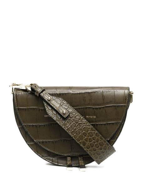Chylak crocodile-effect saddle bag in green