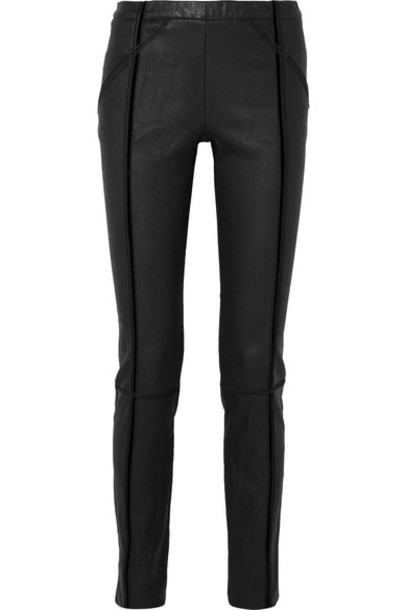 Haider Ackermann - Velvet-trimmed Stretch-leather Skinny Pants - Black