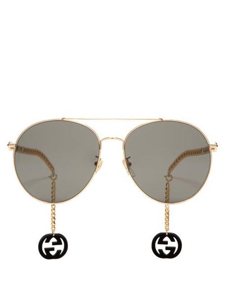 Gucci - Logo-charm Aviator Metal Sunglasses - Womens - Grey Gold